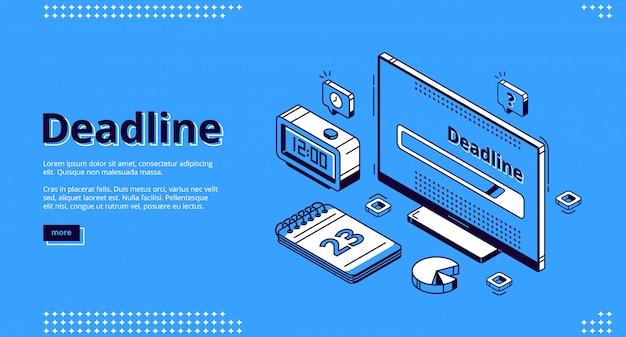 Date limite, bannière web isométrique de gestion du temps