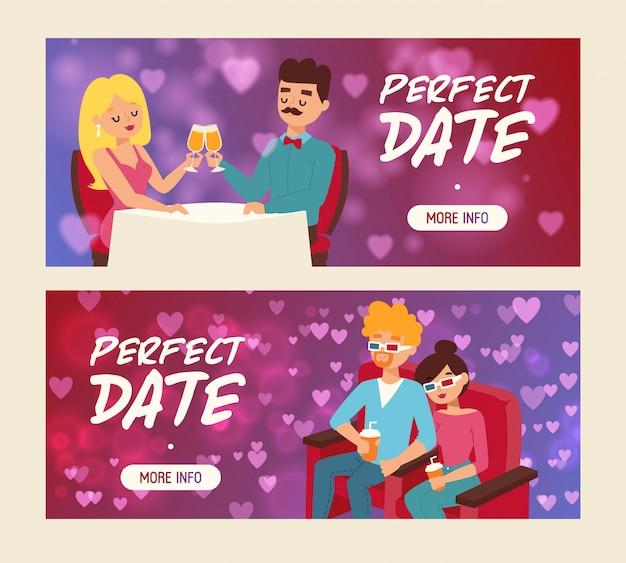 Date parfaite série de bannières vector illustration. personnes assises au restaurant et buvant du champagne. cople buvant des sodas dans des lunettes 3d au cinéma.