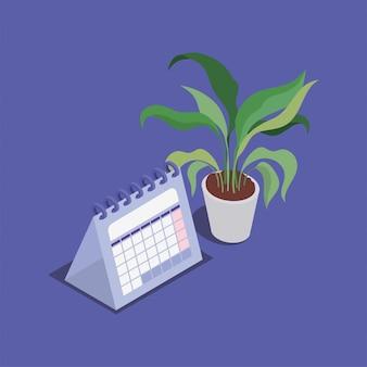 Date de rappel du calendrier avec plante d'intérieur