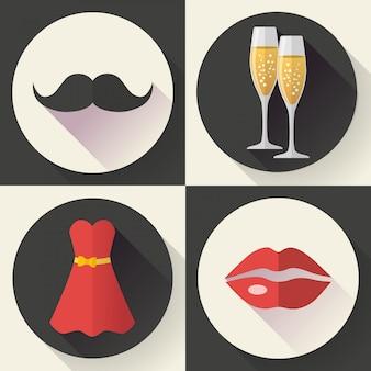 Date romantique icônes, style design plat