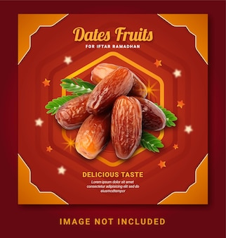 Dates fruits pour iftar ramadan post modèle de médias sociaux