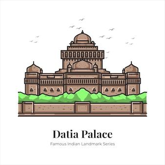Datia palace indien célèbre monument emblématique dessin animé ligne art illustration