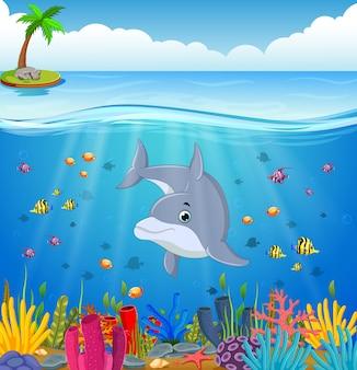 Dauphin de dessin animé sous la mer