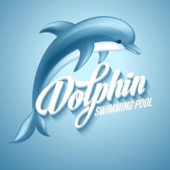 Dauphin. modèle de signe de piscine.