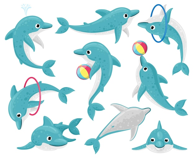Dauphins de dessin animé mignon