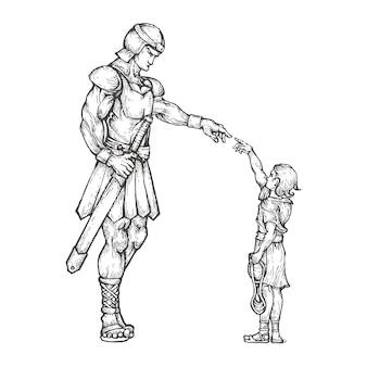 David et goliath dessinés à la main
