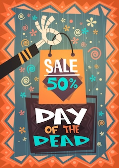 Day of dead vente traditionnelle bannière shopping discount mexicain halloween