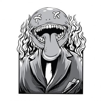 Death jokes illustration noir et blanc