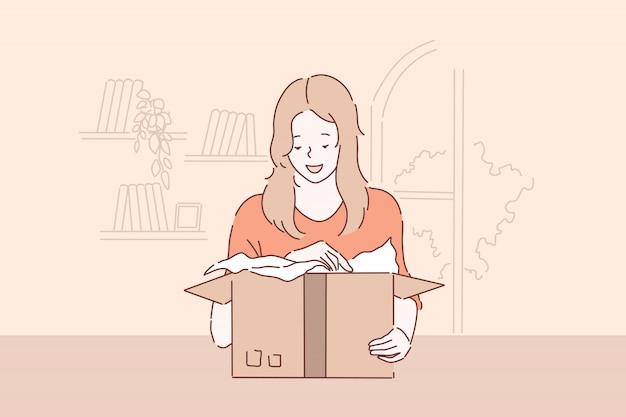 Déballage agréable surprise, concept de livraison de colis