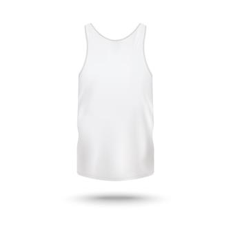 Débardeur blanc pour hommes - modèle vierge réaliste de la vue de face sur fond blanc. chemise sans manches homme réaliste - illustration.