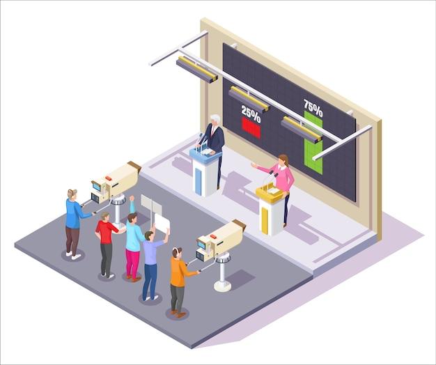 Débat des candidats à l'élection présidentielle dans un studio de télévision.