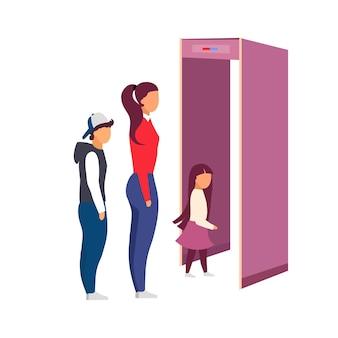 Debout dans la file d'attente pour la sécurité de l'aéroport, scannez des personnages plats sans visage. point de contrôle de sécurité. voyager avec un dessin animé isolé pour enfants