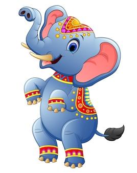 Debout de dessin animé mignon éléphant