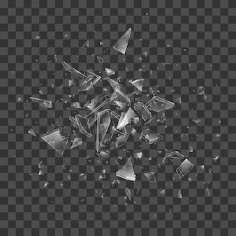 Débris de verre brisé. effet transparent.