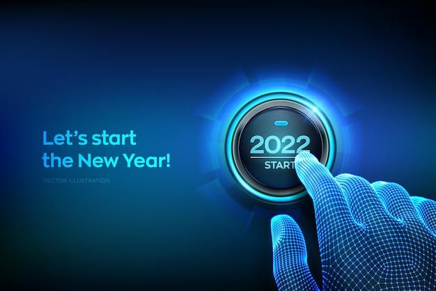 Début 2022. doigt sur le point d'appuyer sur un bouton avec le texte 2022 start. bonne année. nouvel an deux mille vingt et un concept à venir. illustration vectorielle.