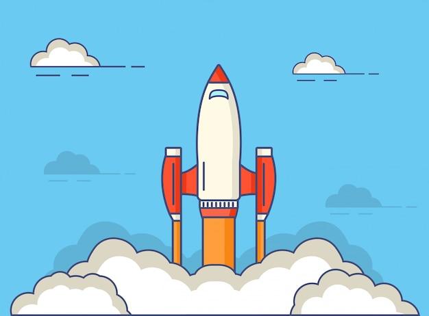 Début d'une fusée spatiale en vol.