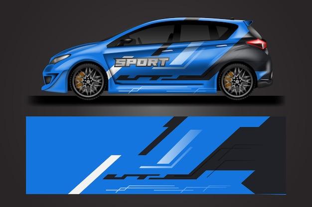 Decal car wrap design vector graphic stripe résumé fond de course pour véhicule