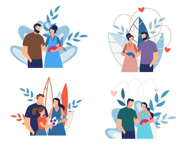 Décharge de maternity hospital cartoon set
