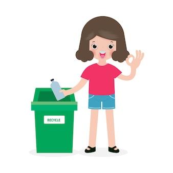 Déchets d'enfants pour le recyclage, poubelle pour enfants, recyclage des déchets