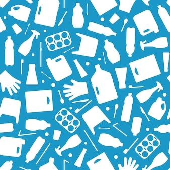 Déchets plastiques, illustration vectorielle de modèle sans couture de pollution des océans. eco problème pollution de l'eau