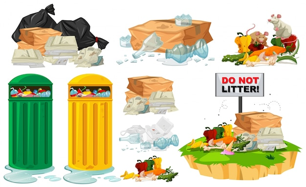 Déchets sur le sol et les poubelles