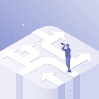 Décision d'homme d'affaires. choix de direction d'entreprise, décisions de carrière réussies et choix de voies illustration concept isométrique