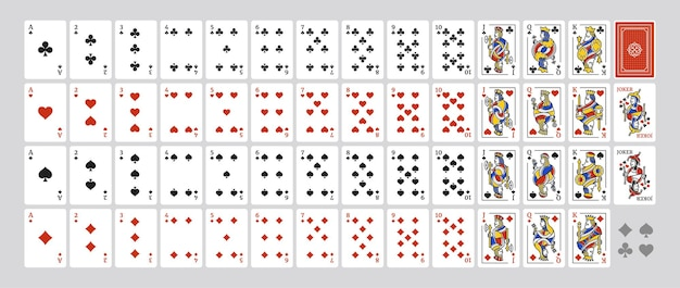 Deck complet original avec 54 cartes avec des illustrations de king queen jack et joker set