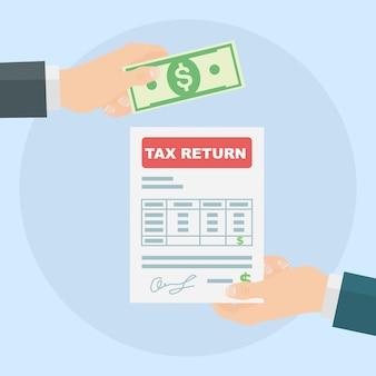 Déclaration d'impôt. la main de l'homme tient le formulaire d'impôt et la main donnant de l'argent