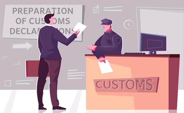 Déclaration personnalisée avec poste de contrôle frontalier et illustration de l'agent