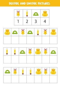 Décoder et encoder des images. écrivez les symboles sous les jolies fournitures scolaires.