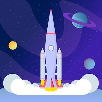 Décollage de fusée, atterrissage illustration vectorielle plane