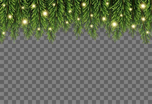Décor d'arbre de noël avec des branches de sapin et des lumières sur fond transparent