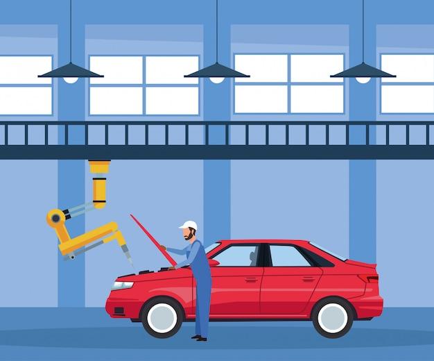Décor d'atelier automobile avec mécanicien et bras machine industrielle réparant une voiture