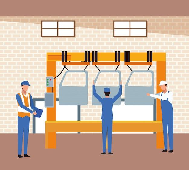 Décor d'atelier automobile avec mécanique et machine avec portes de voiture