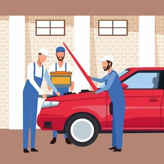 Décor d'atelier automobile avec voiture et mécaniciens en réparation