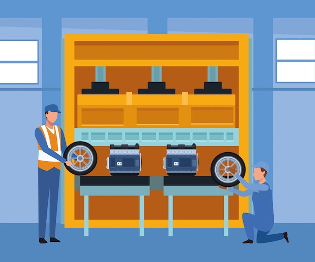 Décor d'atelier de réparation automobile avec des mécaniciens travaillant avec des pneus et des moteurs de voiture