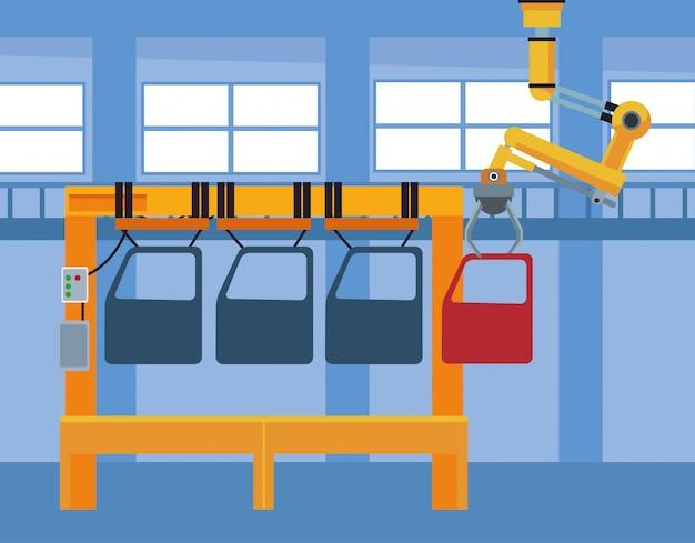 Décor d'atelier de voiture avec machine avec portes de voiture et bras industriel tenant une porte rouge