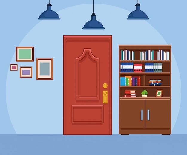Décor de bureau avec bibliothèque et porte, design coloré