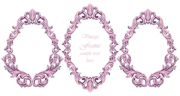 Décor de cadre rose baroque vintage. illustration vectorielle détaillée de l'ornement
