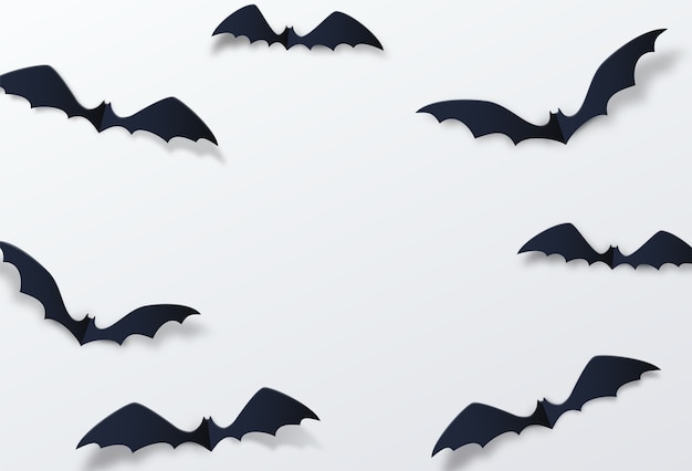 Décor de chauve-souris halloween. style de papier découpé.