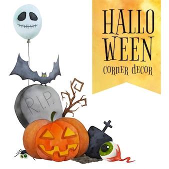 Décor de coin de halloween pour cartes et affiches
