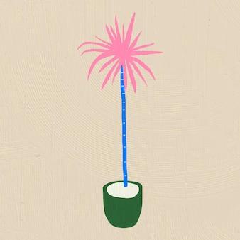 Décor à la maison de vecteur de palmier dessiné à la main dans un style graphique plat coloré