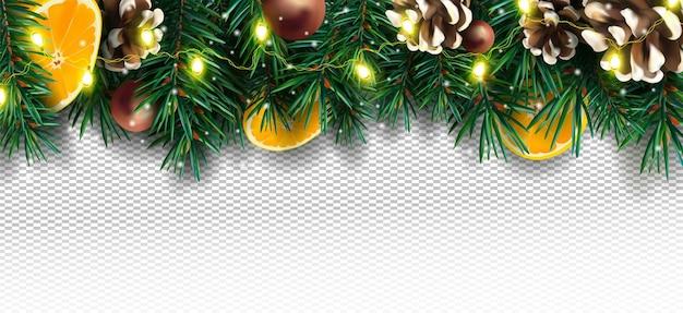 Décor de noël avec des branches de pin cône de pin orange scintille et guirlande lumineuse de noël sur fond transparent