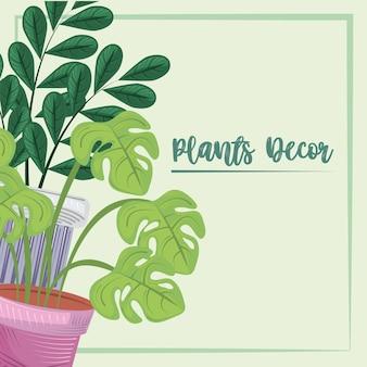 Décor de plantes en pot bannière de jardin de verdure