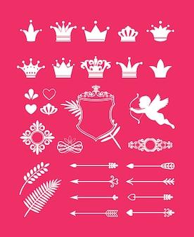 Décor rose de vecteur avec des éléments de conception de couronnes, de coeurs et de flèches pour la princesse et le glamour