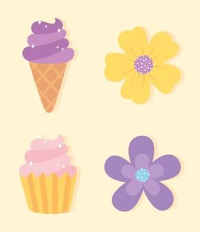 Décoratif, fleurs, glace, cupcake, doux, dessin animé clipart