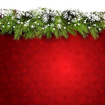 Décoratif fond de noël avec des branches d'arbres de pin et des flocons de neige