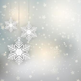Décoratif fond de noël avec des flocons de neige suspendus