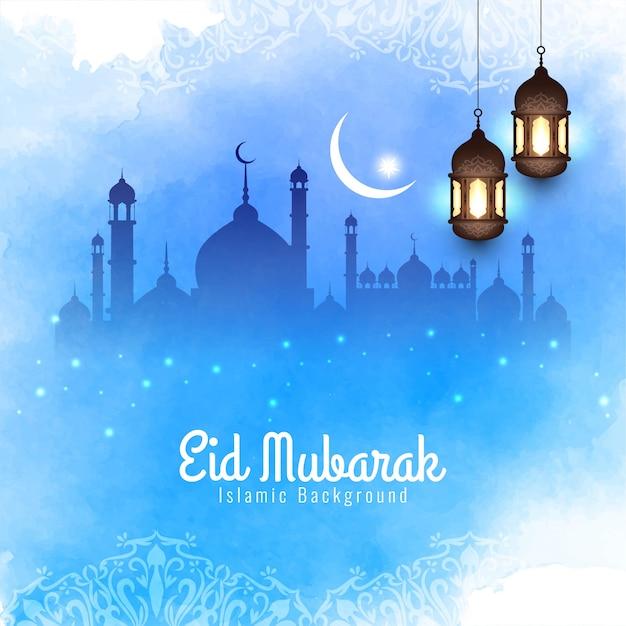 Décoratif islamique eid mubarak élégant fond bleu