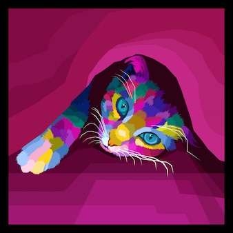 Décoratif de vecteur pop art chat coloré